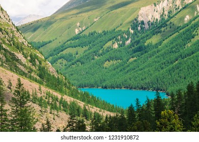 Wonderful mountain lake in valley of highlands. Smooth clean azure water surface. Giant mountainside with rich vegetation. Amazing coniferous forest. Atmospheric green landscape of majestic nature.