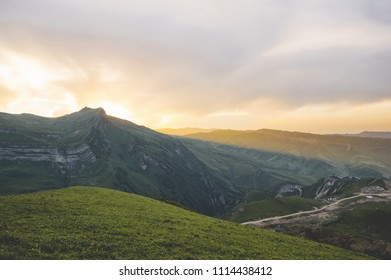 Wonderful mountain landscape during sunset time panorama view