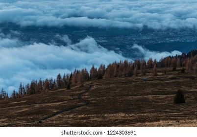 Wonderful Mountain Sunrise Landscape Panorama View From Gerlitzen To Villach In Carinthia Austria
