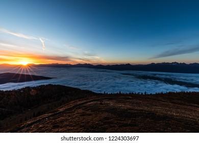 Wonderful Mountain Sunrise Landscape Panorama View From Gerlitzen To Villach In Carinthia Austria