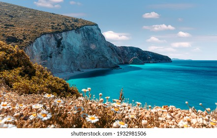 Wonderful nature view on most beautiful beaches of Greece at sunny day. Porto Katsiki in Lefkada. Ionian islands. Stunning nature landscape with flowers on background. concept ideal resting place