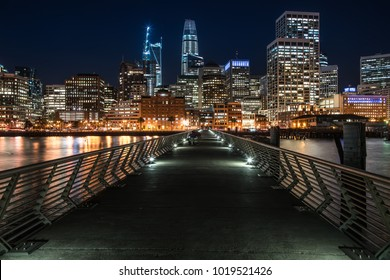 Wonderful night cityscape of illuminated San Francisco in California USA. Panoramic long exposure photo. Horizontal.