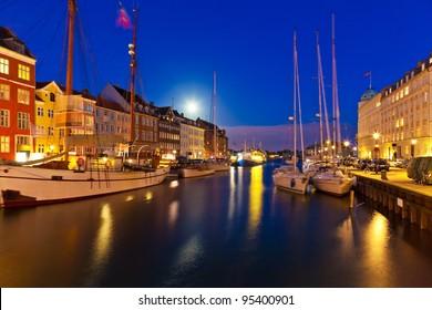 Wonderful night scenery of Nyhavn in Copenhagen, Denmark