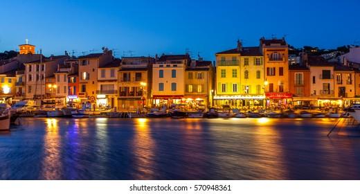 Wonderful night shot of Cassis village, France