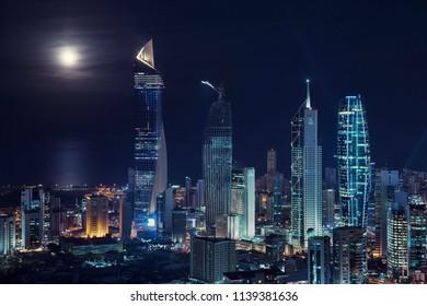 A wonderful night shot of Kuwait City