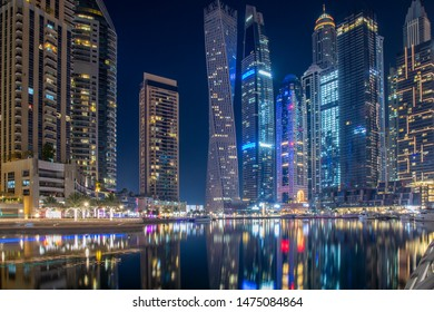 wonderful panorama of Dubai at night