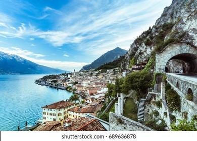 Wonderful Panorama of Limone sul Garda. Lake Garda Italy