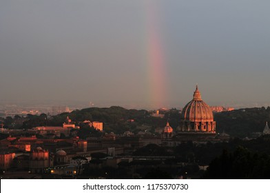 Wonderful panorama on Rome with rainbow