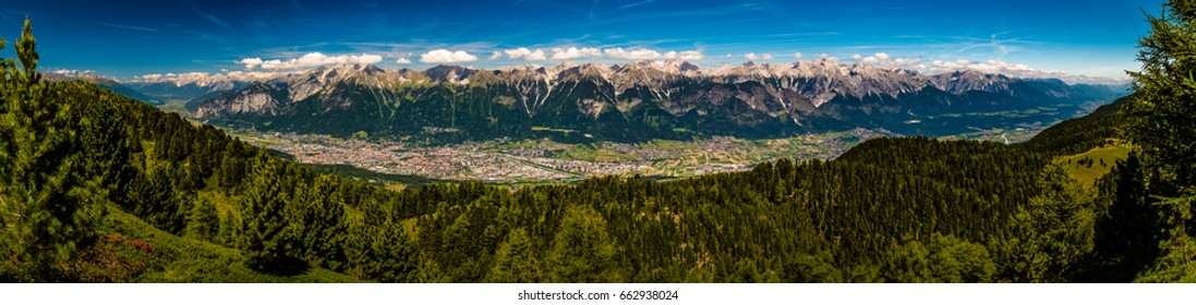 wonderful panorama picture of innsbruck over: taken on 17.06.2017 in Innsbruck/Tirol at Zirbenweg