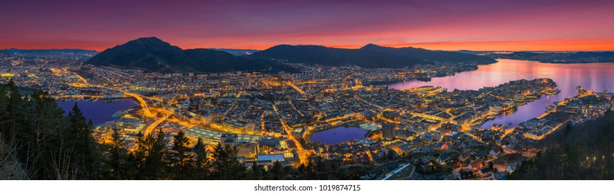 A wonderful panoramic view of Bergen from Floyen, Bergen, Norway at sunset.