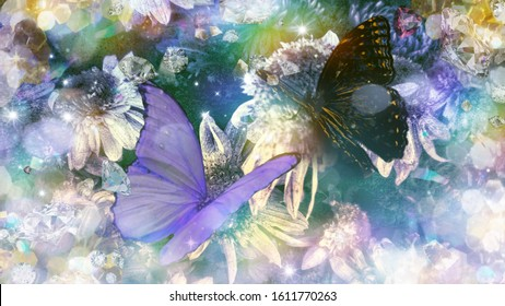 A wonderful purple and black butterfly on chrysantemum flowers. Artistic effects and filters added to the original photography to get this result.