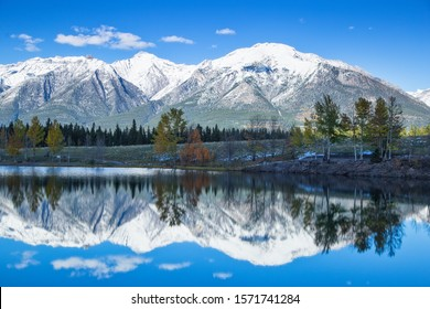 Wonderful Reflections of Autumn Trees and Snowy Blue Mountains in Quarry Lake, Canmore, Alberta, this Fall, October 2019