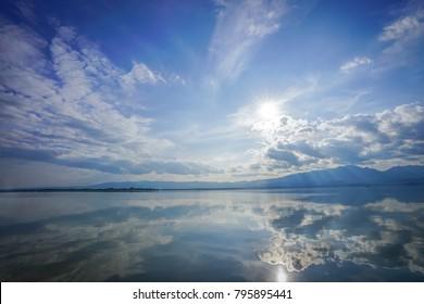wonderful reflexion mirror between sky, cloud, sunshine and sea, representative like paradise or heaven on eath., Thailand.