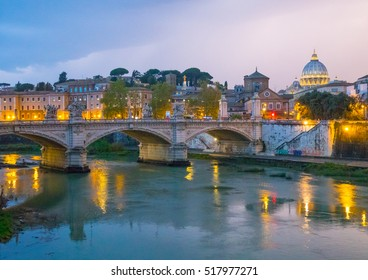 Wonderful River Tiber and the ancient bridges in Rome - romantic view in the evening - ROME / ITALY, NOVEMBER 6, 2016