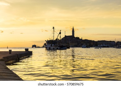 Wonderful romantic city on the Mediterranean coast. Rovinj, Croatia, Europe. In the middle of town stands the Cathedral of St. Euphemia.