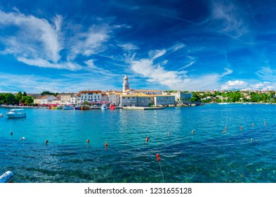 Wonderful romantic summer in old town at Adriatic sea. Summer panoramic coastline landscape. Boats and yachts in harbor. Krk. Krk island. Croatia. Europe.