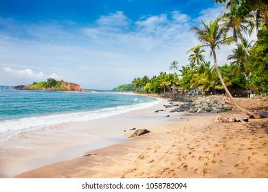 Wonderful sand beach of Mirissa in. Sri Lanka.