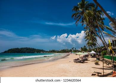 Wonderful sand beach of Mirissa in Sri Lanka.