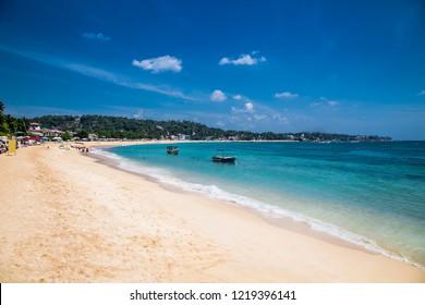 Wonderful sand beach of Unawatuna in  Sri Lanka.