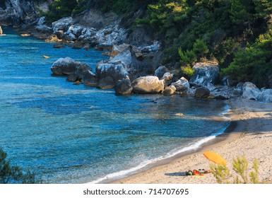 Wonderful sandy beach at Aegean sea on Sithonia, Halkidiki, Greece.