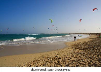 Wonderful sandy beach with a lot of kite surfers, blue sky and warm sea at the background, Sal Island in Cape Verde