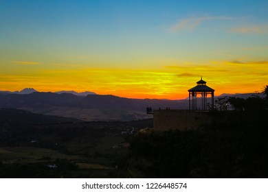 Wonderful scean of famous viewpoint at sunset in Ronda (Balcon del Conio), Andalusia, Spain