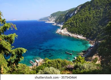 Wonderful seacoast near by Agios Ioannis, Skopelos island, Greece
