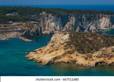 Wonderful seascape with cliffs, rocks (faraglioni) at Tremiti islands in Puglia