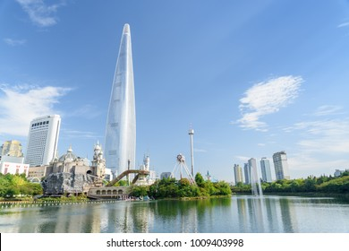 Wonderful Seoul skyline. Amazing view of downtown in Seoul, South Korea. Beautiful summer sunny cityscape. Modern tower on blue sky background. Seoul is a popular tourist destination of Asia.