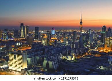 a wonderful shot of Kuwait city at sunset