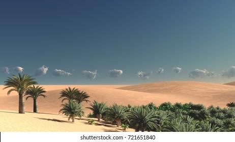 Wonderful sight on Sahara desert at sunset 3d rendering