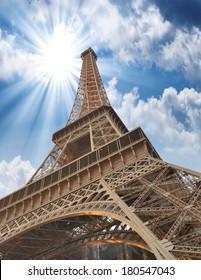 Wonderful sky colors above Eiffel Tower. La Tour Eiffel in Paris.