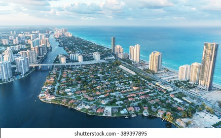 Wonderful skyline of Miami at sunset, aerial view.