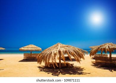 Wonderful solar beach in the Egypt.