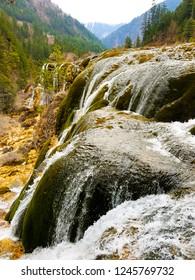 Wonderful spring view of Pearl Shoal Waterfall in Jiuzhaigou National Park, Sichuan Province, China