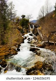 Wonderful spring view of Shuzheng Waterfall in Jiuzhaigou National Park, Sichuan Province, China