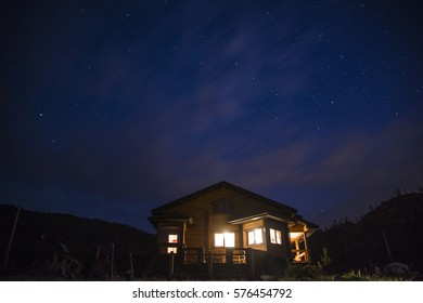 Wonderful starry sky above the village house in Buryatia.