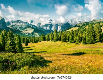 Wonderful summer scene with Furchetta mountain range in the morning mist. View Great view of Dolomite Alps from Sella pass, Italy, Europe. Beauty of nature concept background. Instagram filter toned.