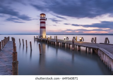 Wonderful Summer Sunset Impression of lighthouse at lake Neusiedl (Podersdorf am See, Burgenland, Austria)
