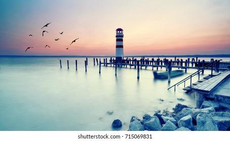 Wonderful Summer Sunset Impression of lighthouse at lake Neusiedl (Podersdorf am See, Burgenland, Austria)