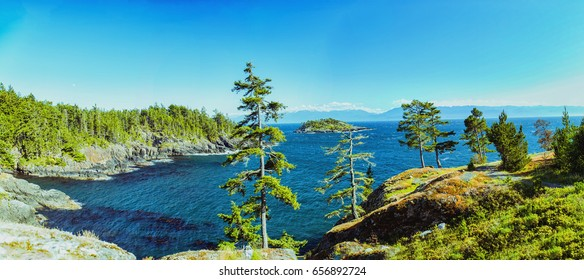 Wonderful sunny day panorama view in Sooke Point, East Sooke. Vancouver Island.
