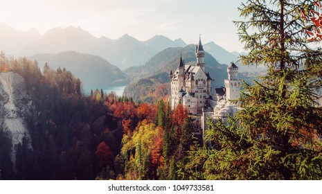Wonderful Sunny landscape. Sunny day in Alps. Incredible majestic Neuschwanstein castle in Autumn. Popular locations for Photographers. concept of travel vacation. Amazing Natural background.