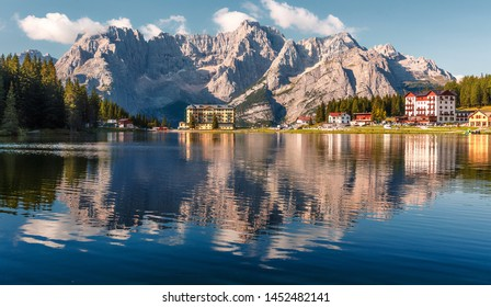 Wonderful sunny landscape. Misurina Lake or Lago di Misurina Italy. National Park Tre Cime di Lavaredo, Location Auronzo, Dolomiti Alps, South Tyrol, Italy. Awesome nature scenery.