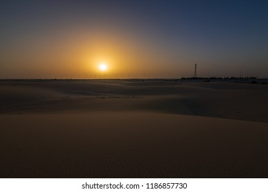 Wonderful Sunrise Desert Background Landscape -Dammam Saudi Arabia.