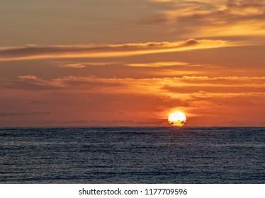 Wonderful sunset in french polynesia landscape