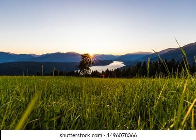 Wonderful Sunset Landscape Panorama With View To Lake Millstatt In Carinthia Austria