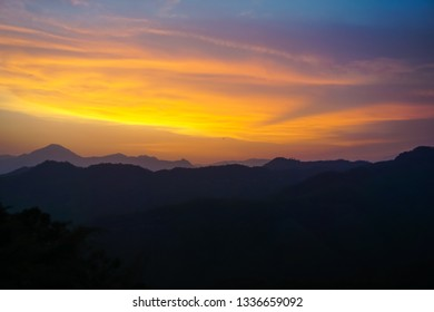 Wonderful sunset in the mountains of Mizoram, India