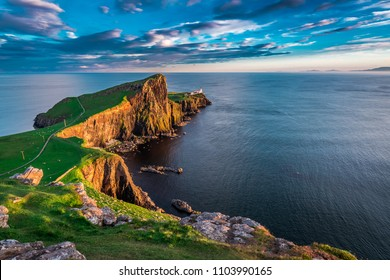 Wonderful sunset at the Neist point lighthouse in Scotland
