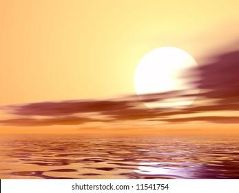Wonderful sunset over the sea