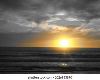 Wonderful Sunset seen from a Portuguese Beach, near Lisbon, Portugal